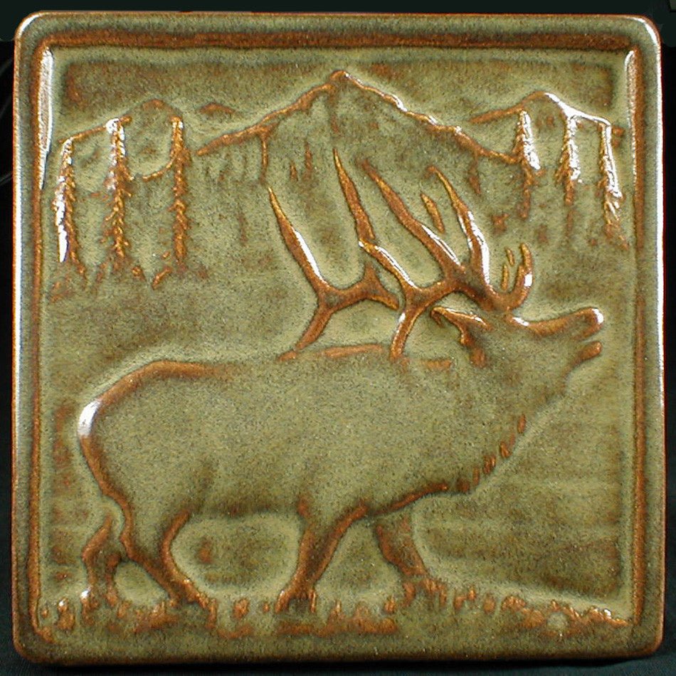 6 x 6 Elk tile in a tan glaze - Brownstone