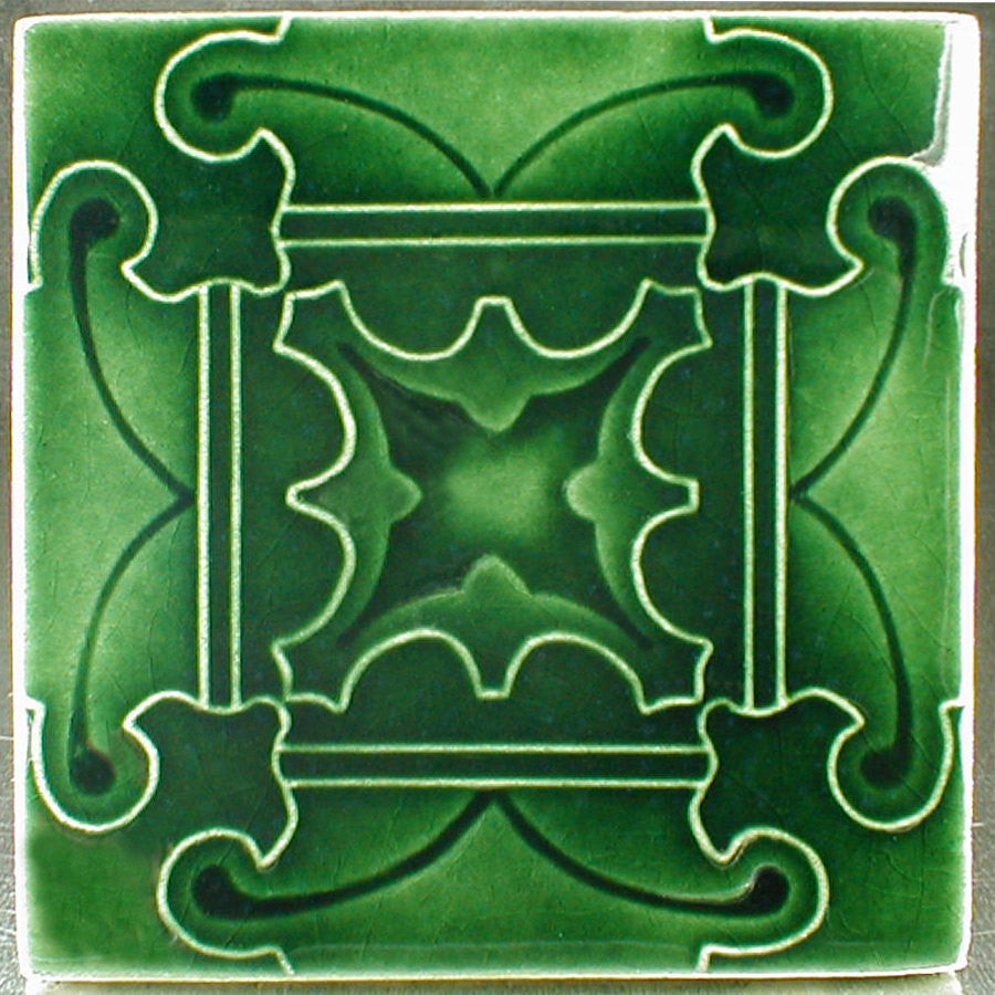 6 x 6 Butterfly tile design in dark green glossy glaze - Dark Juniper