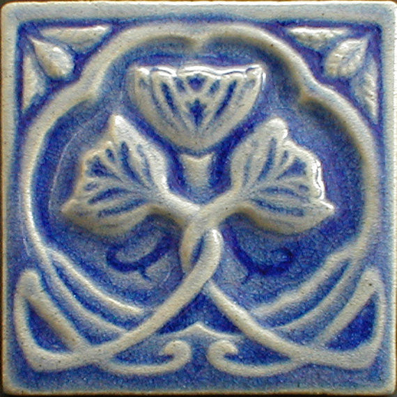 6 x 6 Rose tile in a glossy light blue glaze with crackle - Heavenly Blue