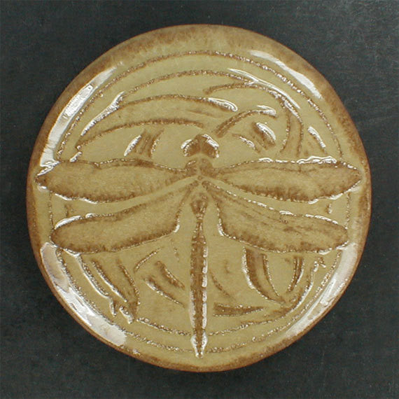 "4"" Round Dragonfly tile in a tan/brown glaze - Sisal"