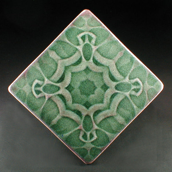 6 X 6 Thistle Tile With Green Crackle Glaze Pine Forest