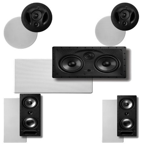 Polk Audio 90-RT In-Ceiling Speakers (Pair) Plus Polk Audio 265RT 3-Way In-Wall Speakers (Pair) & A Polk Audio 255C-LS Center Channel Speaker - Super Electronics Warehouse
