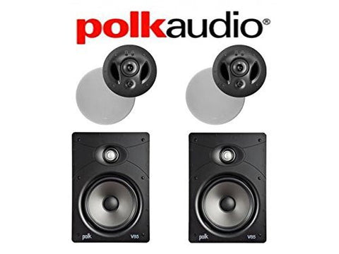 (2) Polk Audio 900-LS #43; (2) Polk Audio V85 Vanishing Series In-Wall \ In-Ceiling Home Speaker System - Super Electronics Warehouse