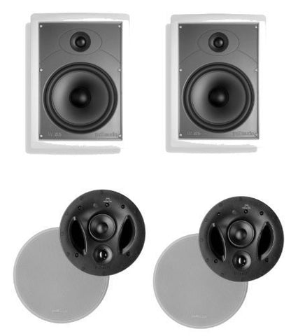 Polk Audio 70-RT 3-Way In-Ceiling Speaker (Pair) Plus a Polk Audio MC85 In-Wall Speaker (Pair) - Super Electronics Warehouse
