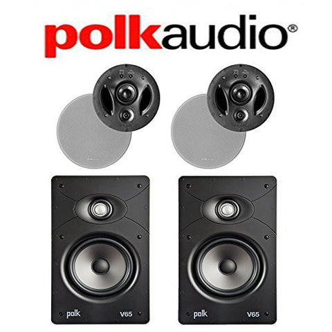(2) Polk Audio 700-LS + (2) Polk Audio V65 Vanishing Series In-Wall / In-Ceiling Home Speaker Package - Super Electronics Warehouse
