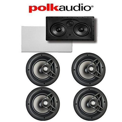 (4) Polk Audio V80 High Performance In-Ceiling Loudspeakers + (1) Polk Audio 255C-LS In-Wall Center Channel Loudspeaker Bundle - Super Electronics Warehouse