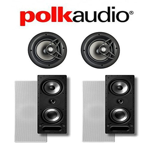 (2) Polk Audio 265-RT In-Wall Loudspeakers + (2) Polk Audio V80 In-Ceiling Loudspeakers - Bundle - Super Electronics Warehouse