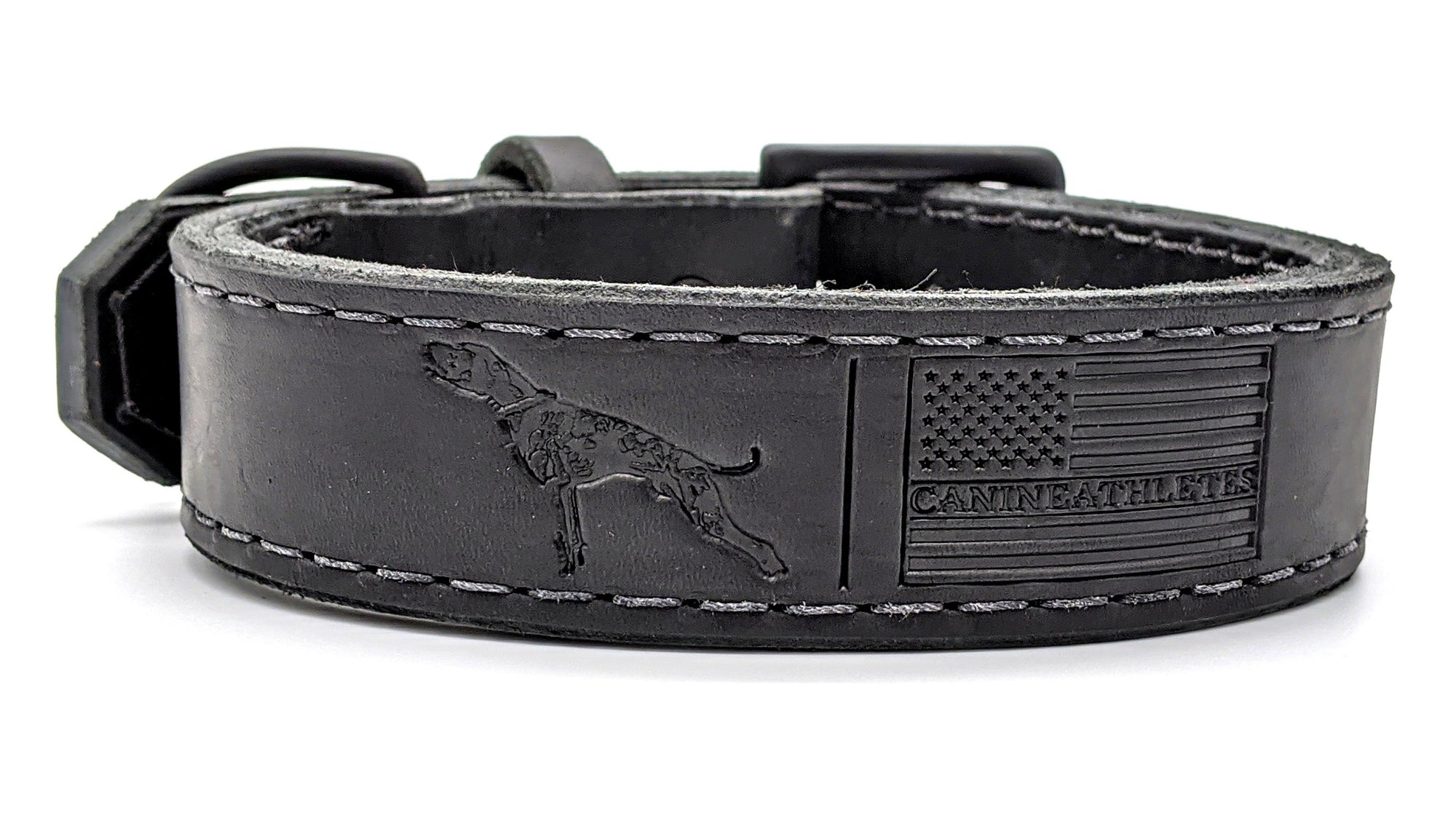 Canine Athletes x TGR Black Leather Agitation Dog Collar