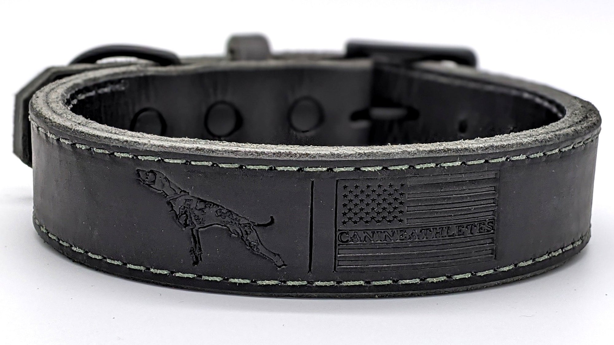 Canine Athletes x TGR Black/Green Leather Agitation Dog Collar