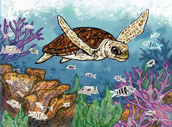 Turtle Reef Fine Art Canvas Print