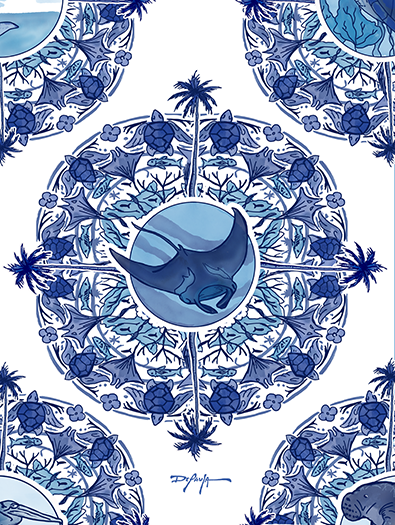 Delft Blue Manta Ray Blue and White Fine Coastal Art Canvas Print