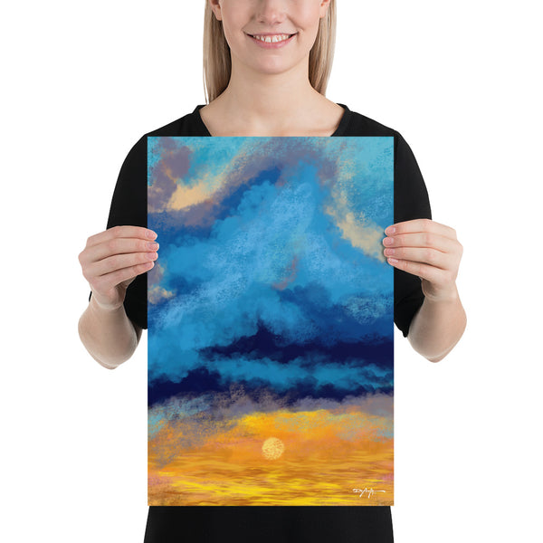 Golden Blue Sunset Coastal Fine Art Print