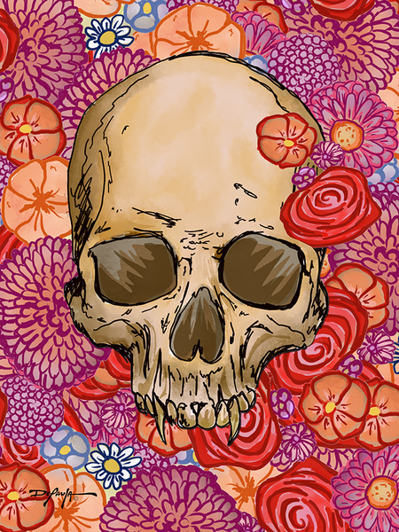 Skull and Flowers Fine Floral Art Canvas Print