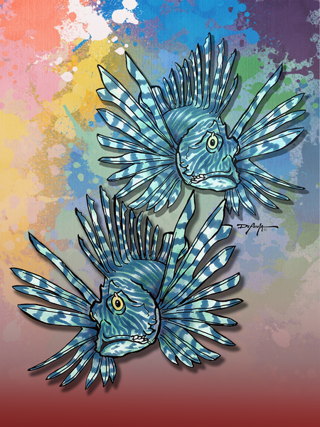 Lionfish Duet Reef Fish Fine Art Canvas Print