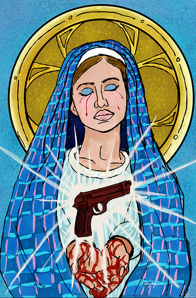 Mother Mary Pray for Us Sinners Contemporary Fine Art Canvas Print