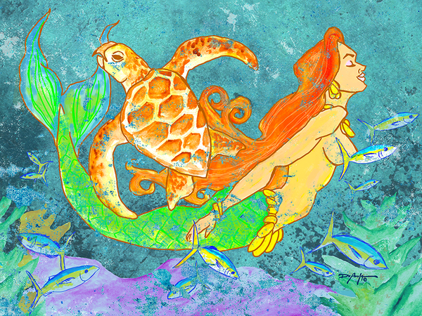 The Turtle and the Mermaid Fine Coastal Art Canvas Print