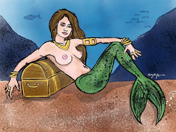 The Mermaid Treasure Canvas