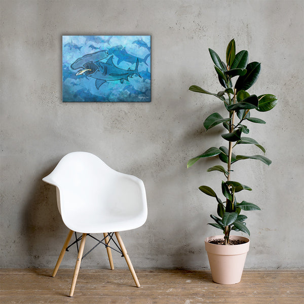 Hammerhead Shark School Fine Art Canvas Print