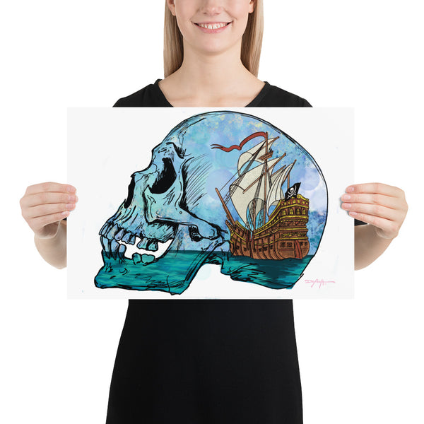 Age of Adventure Pirate Skull Fine Art Print 12 x 18