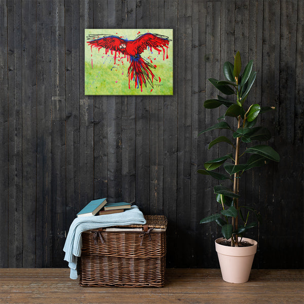 The Scarlet Macaw Drip Fine Art Canvas Print