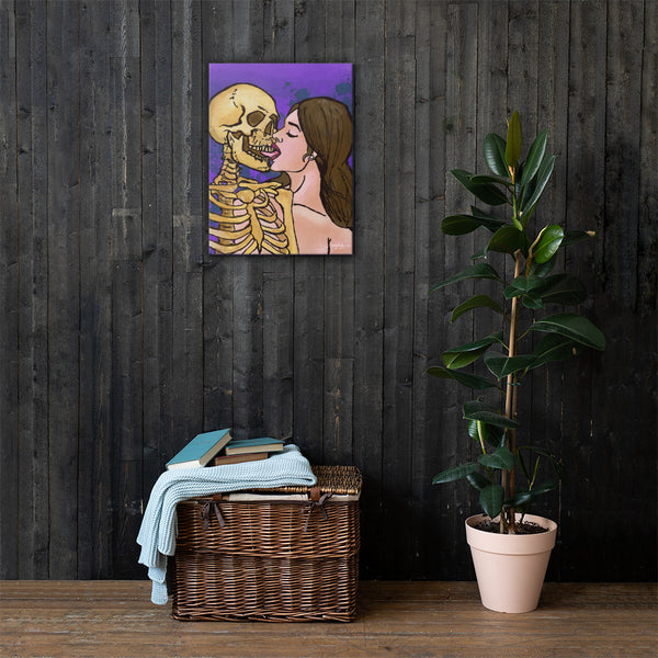 Flirting With Death Fine Art Skeleton Woman Canvas Print