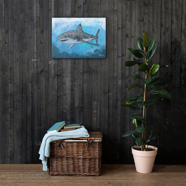 Impression Great White Shark Fine Art Canvas Print