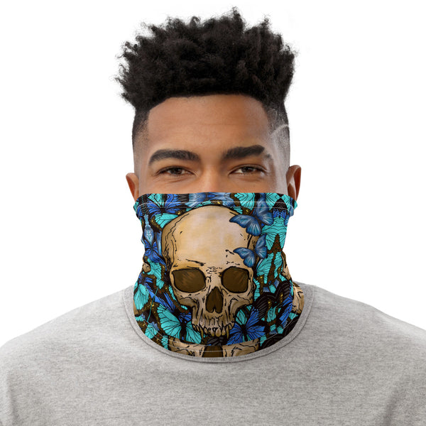 Skull and Butterflies Face Mask Neck Gaiter