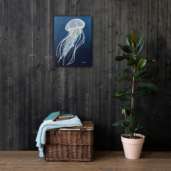 Blue Jellyfish Fine Coastal Art Canvas Print