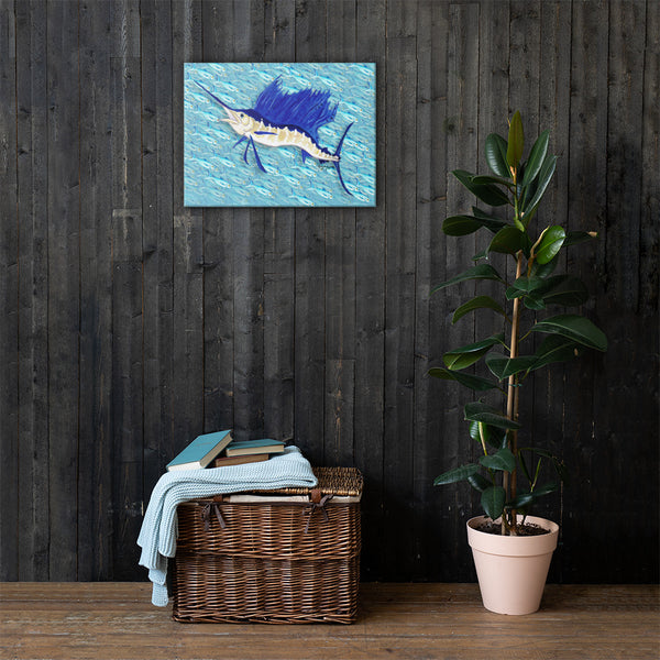 Sailfish in front of a Bait ball Fine Fish Art Canvas Print