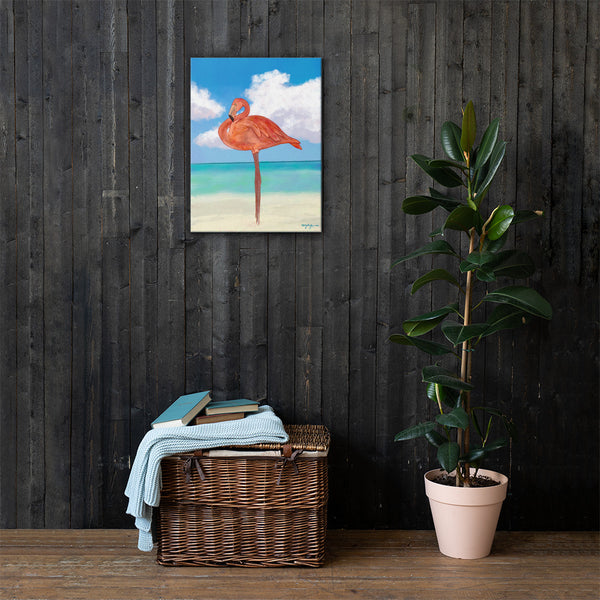 Flamingo Beach Fine Art Canvas