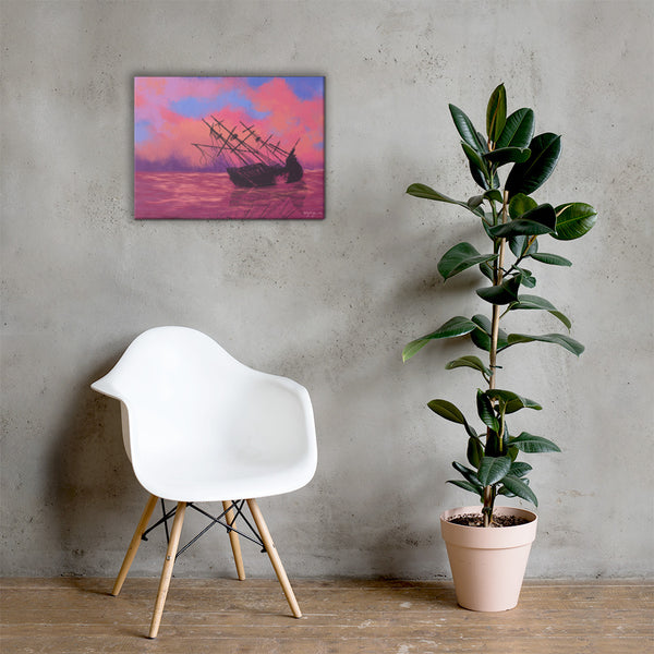 Wrecked Fine Art Sunset Landscape Canvas