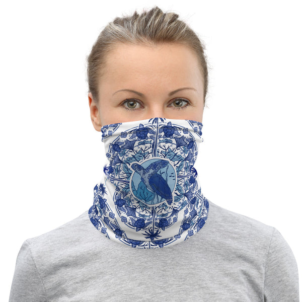 Delft Blue Turtle Face Mask Neck Gaiter