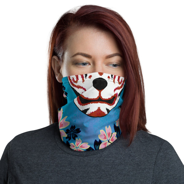 Fox Cherry Blossoms Face Mask Neck Gaiter
