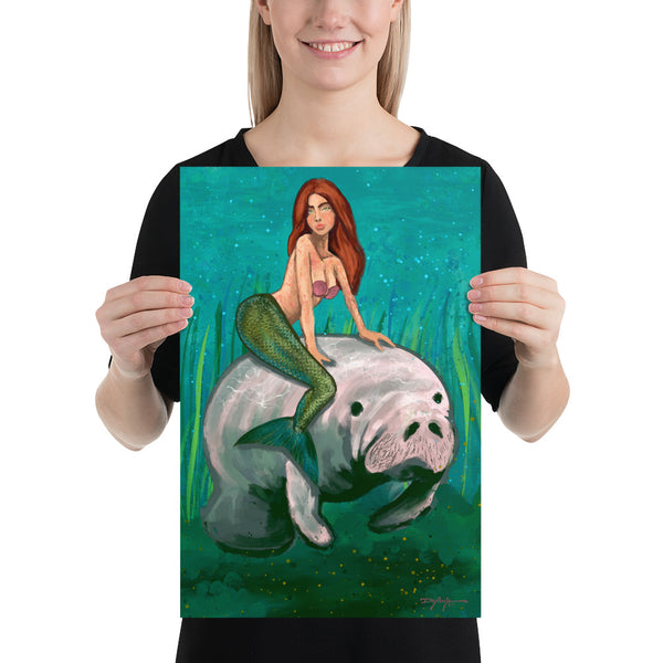 Mermaid & the Manatee Fine Art Print 12 x 18