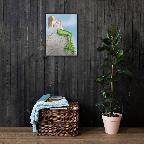The Sitting Mermaid Fine Coastal Art Canvas