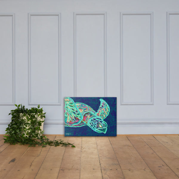 The Neon Turtle Fine Art Canvas