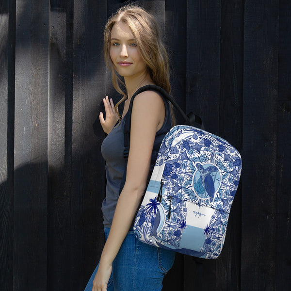 Delft Blue Sea Turtle Fine Art Blue and White Backpack Bag