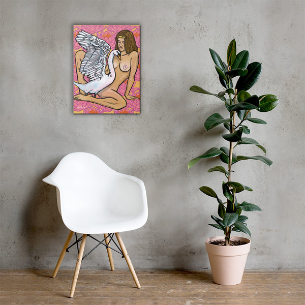 Leda and the Swan Greek Mythology Fine Art Canvas