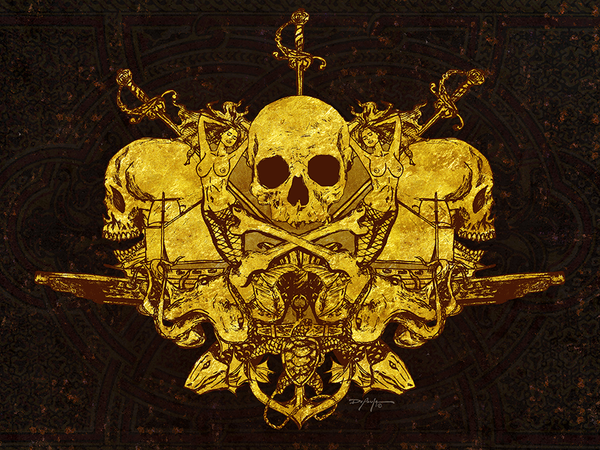 Pirate Crest Golden Age of Piracy Skull Fine Art Canvas Print