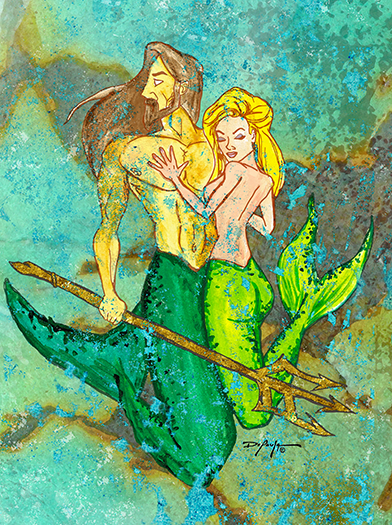 Poseidon and Amphitrite Mermaid Fine Art Canvas