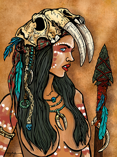 Turquoise Warrior Portrait Fine Art Canvas