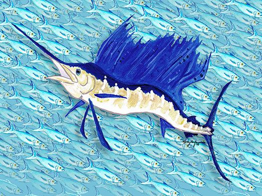 Sailfish in front of a Bait ball Canvas