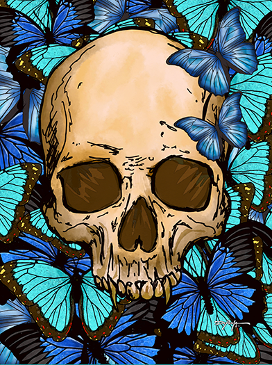 Skull and Butterflies Fine Art Canvas Print