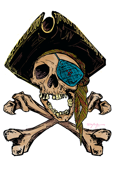 One Eyed Pirate Jolly Roger Fine Art Print 12 x 18