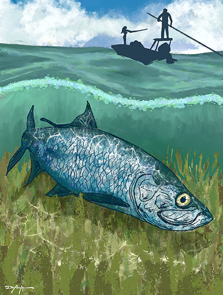 Tarpon Flats Fishing Fine Art Canvas