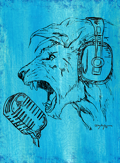 The Roaring Lion Microphone Fine Art Canvas Print