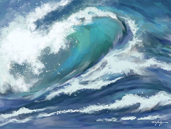 Deep Blue Wave Fine Art Canvas