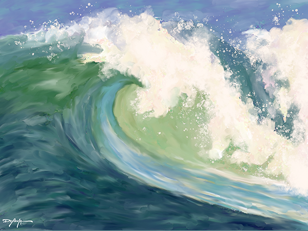 Crashing Emerald  Wave Fine Art Canvas