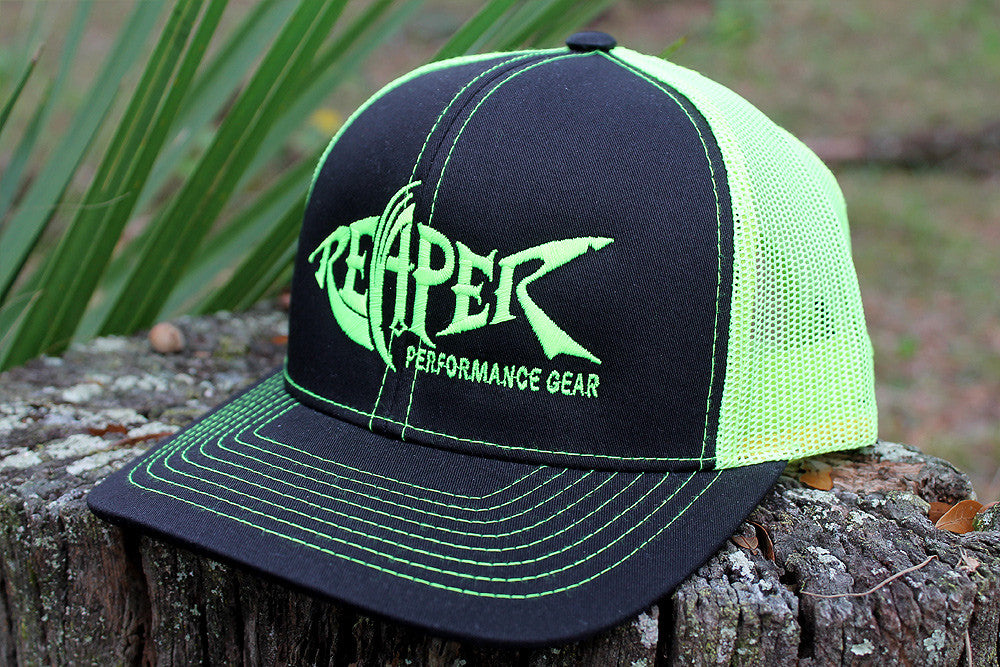 e52284bf243a1 Black and Neon Yellow Trucker Mesh Hat – Reaper Performance Gear