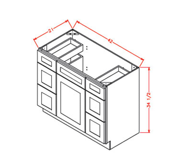 Vanity Double Drawer Base - Cabinets on Demand